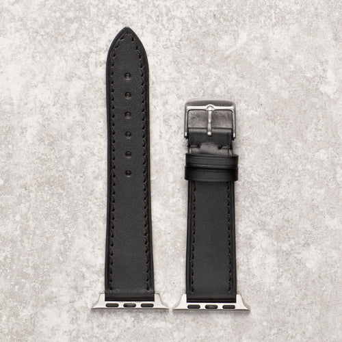 Diametris Apple Watch textured black leather replacement strap - Case size 42mm/44mm