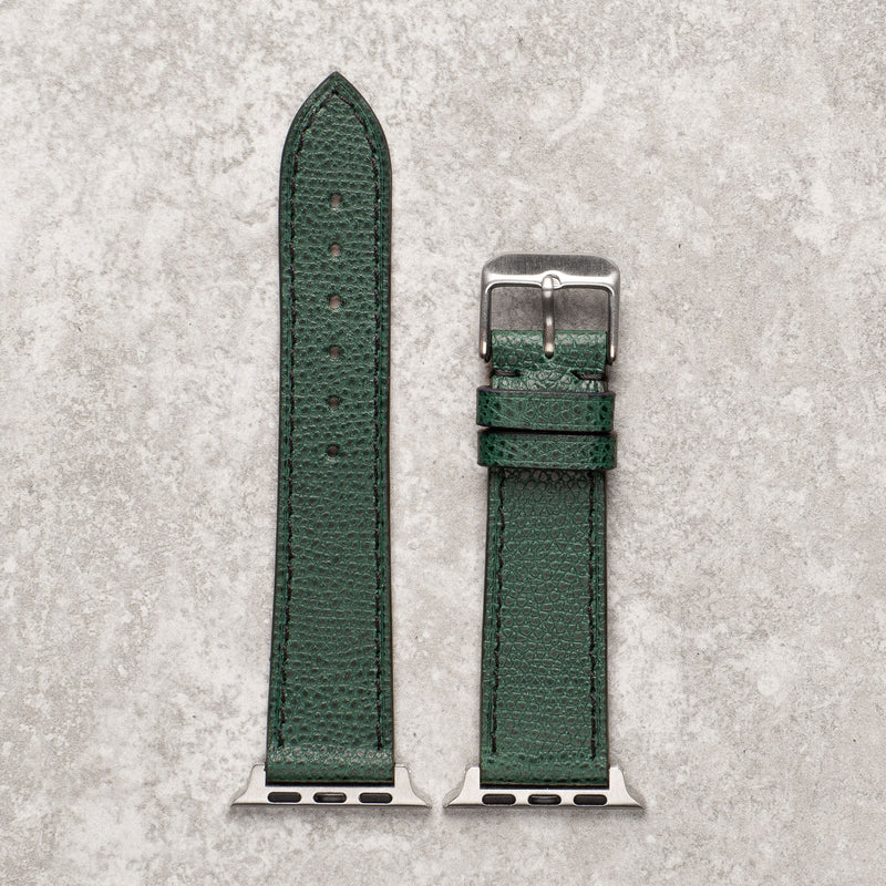 Diametris Apple Watch textured green leather replacement strap - Case size 42mm/44mm