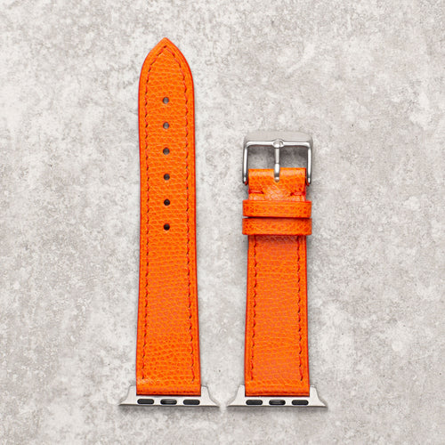 Diametris Apple Watch textured orange leather replacement strap - Case size 42mm/44mm