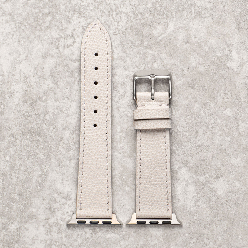 Diametris Apple Watch textured light grey leather replacement strap - Case size 38mm/40mm