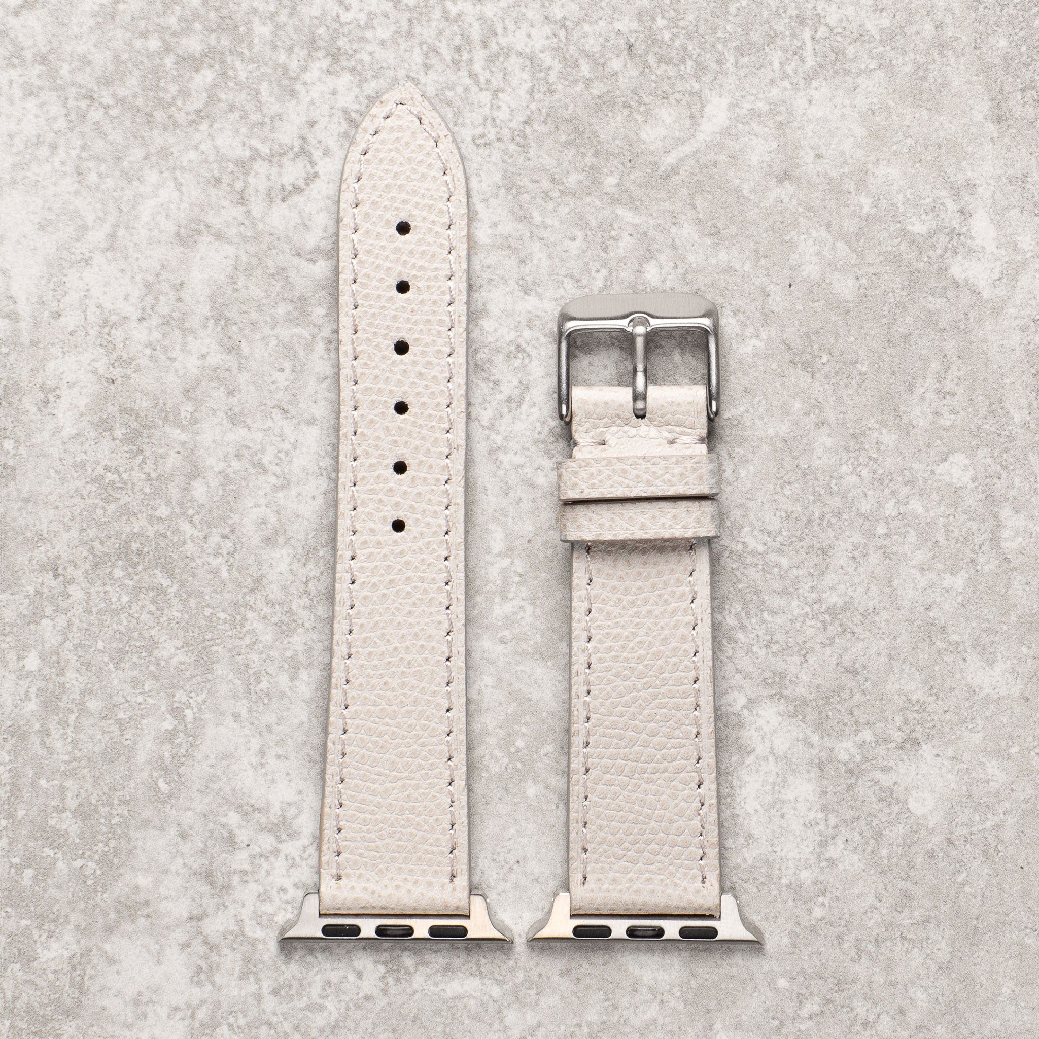 Diametris Apple Watch textured light grey leather replacement strap - Case size 42mm/44mm