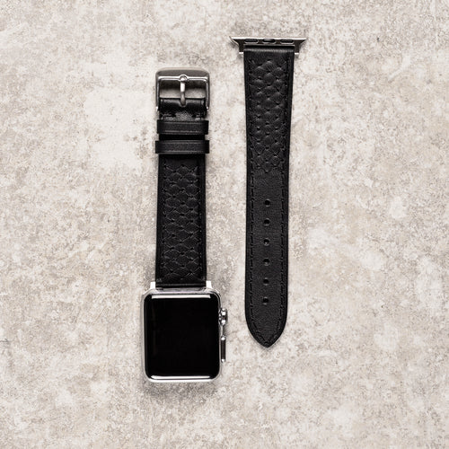 Diametris Apple Watch Quilted black leather replacement strap - Case size 38mm/40mm