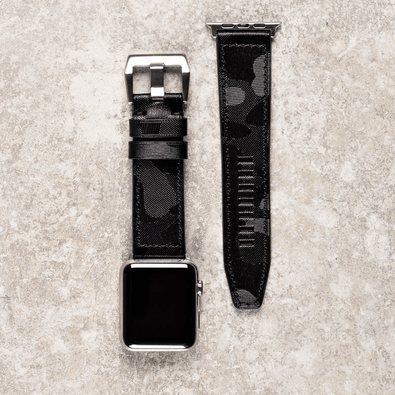 o	Diametris Apple Watch Major black camo leather replacement strap - Case size 42mm/44mm