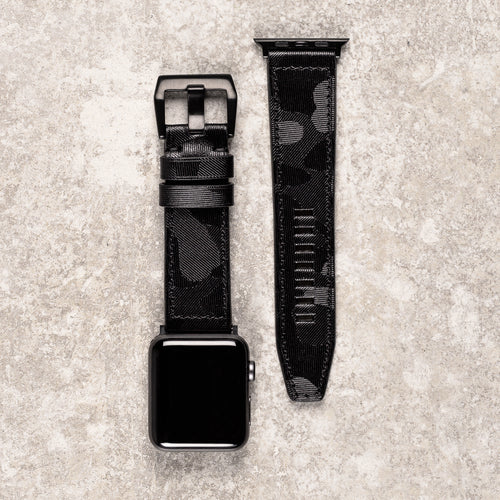 Diametris Apple Watch Major black camo leather replacement strap - Case size 42mm/44mm