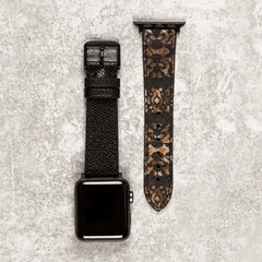 Diametris Apple Watch paisley and textured black leather replacement strap - Case size 38mm/40mm