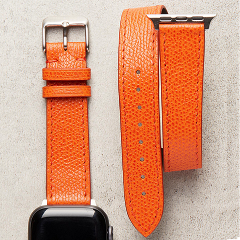 Diametris Apple Watch double loop textured orange leather replacement strap - Case size 38mm/40mm
