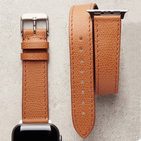 Diametris Apple Watch double loop textured tan leather replacement strap - Case size 38mm/40mm