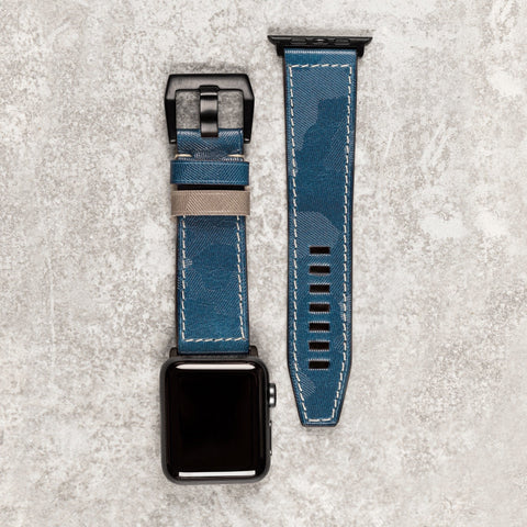 Diametris Apple Watch Major blue camo leather replacement strap - Case size 42mm/44mm
