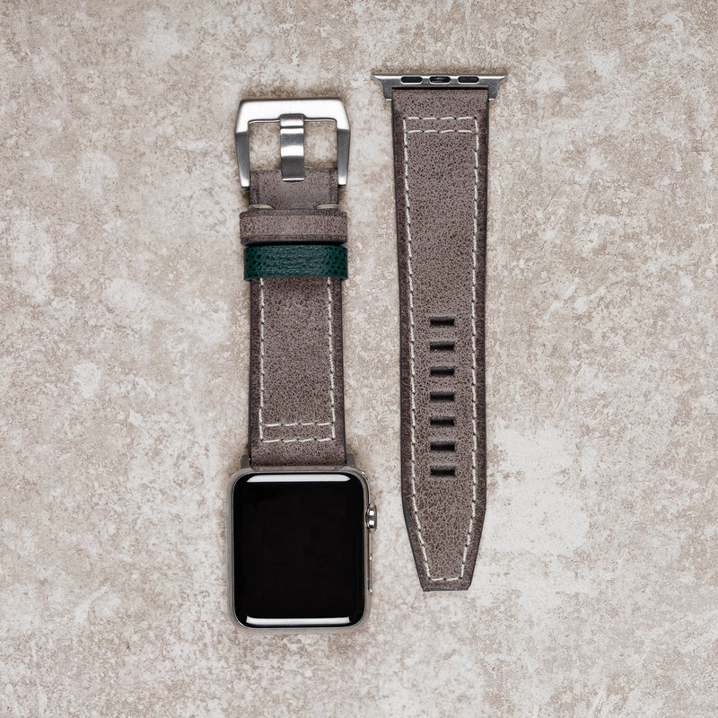 Diametris Apple Watch Major Taupe distressed leather replacement strap - Case size 42mm/44mm silver buckle