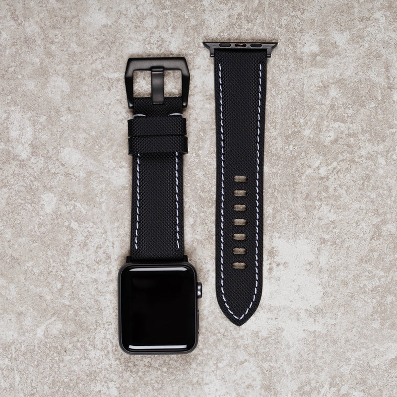 Products Diametris Apple Watch Major black rubber white stitch replacement strap - Case size 42mm/44mm black buckle