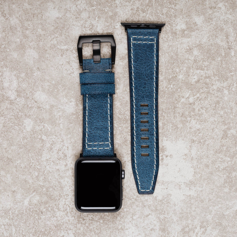 Diametris Apple Watch Major Blue distressed leather replacement strap - Case size 42mm/44mm black buckle