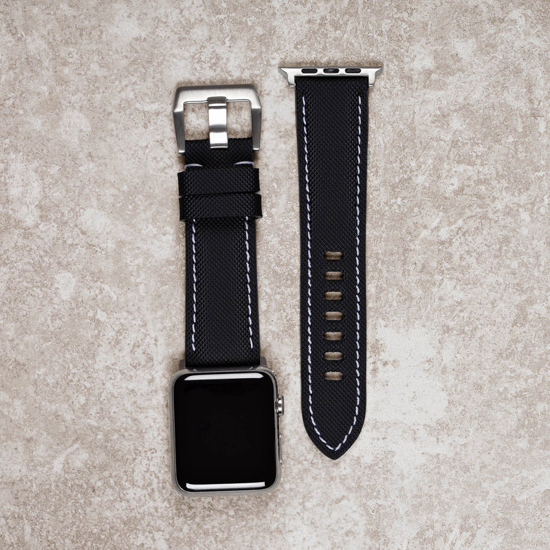 Products Diametris Apple Watch Major black rubber white stitch replacement strap - Case size 42mm/44mm silver buckle