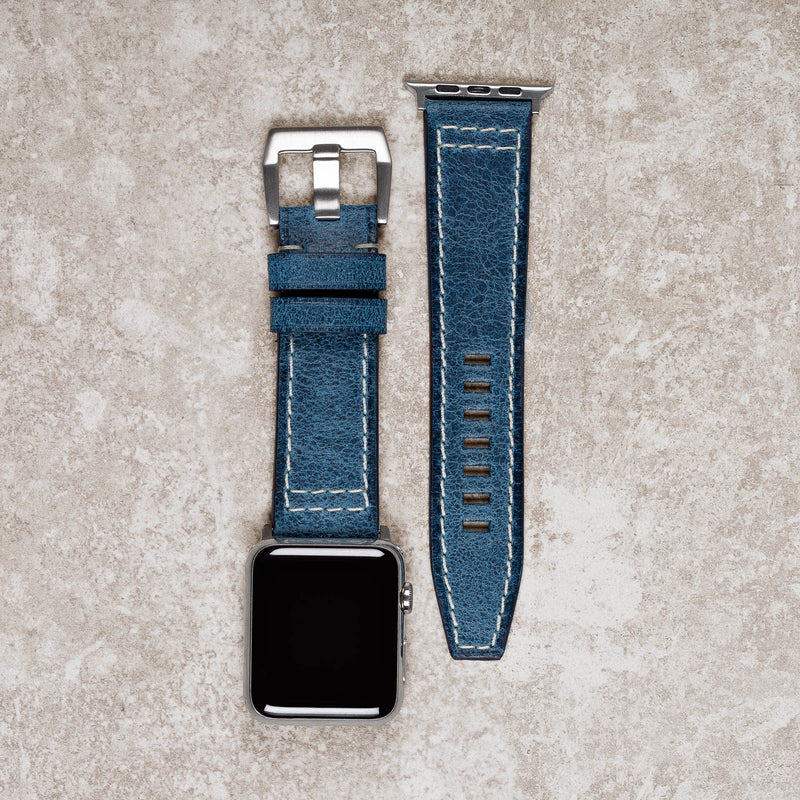 Diametris Apple Watch Major Blue distressed leather replacement strap - Case size 42mm/44mm silver buckle