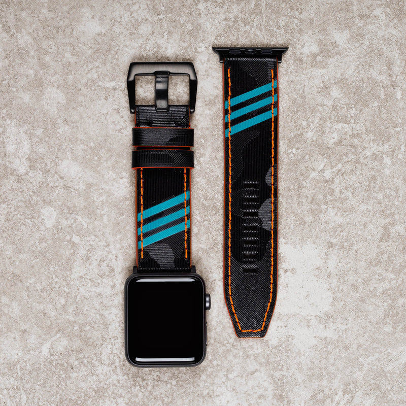 Diametris Apple Watch Major Neon turquoise and black camo leather replacement strap - Case size 42mm/44mm black buckle