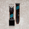 Diametris Apple Watch Major Neon turquoise and black camo leather replacement strap - Case size 42mm/44mm Silver buckle