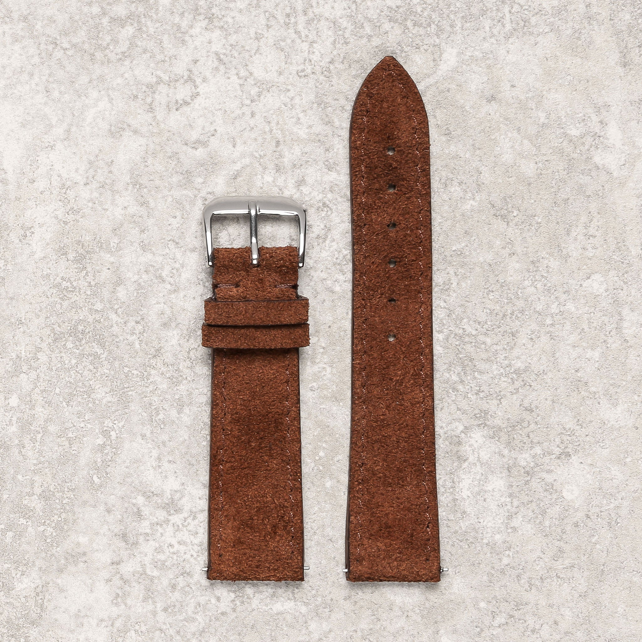 Thin impeccable brown suede watch strap watch band Montreal