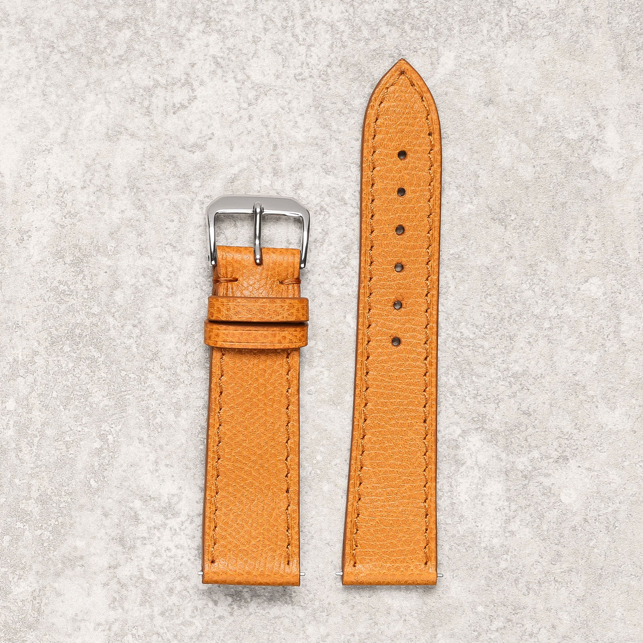 Impeccable textured tan watch strap