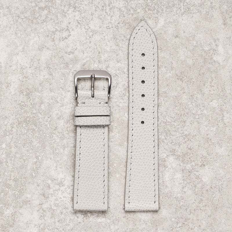 Impeccable textured light grey watch strap