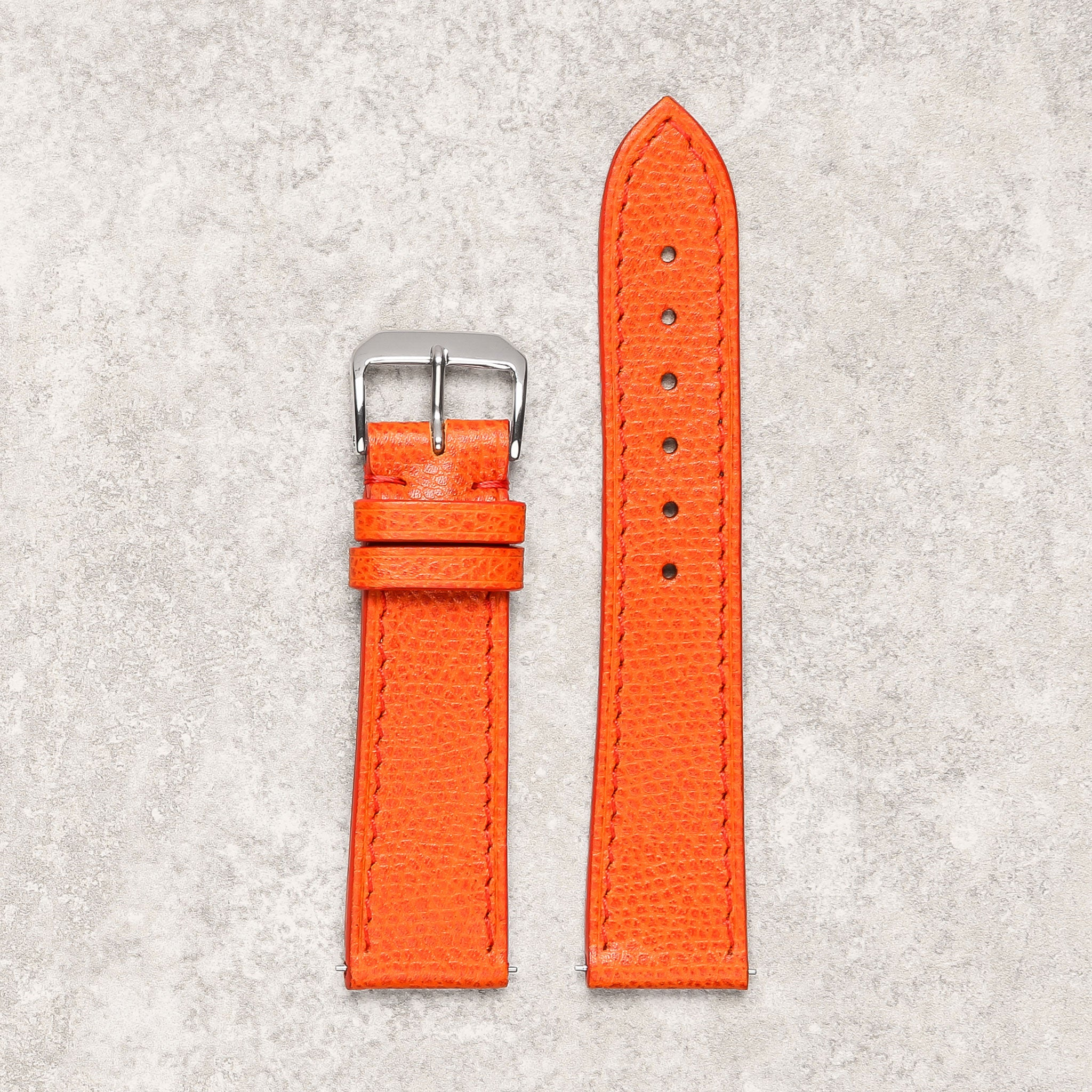 Thin impeccable grained orange watch strap watch band Montreal