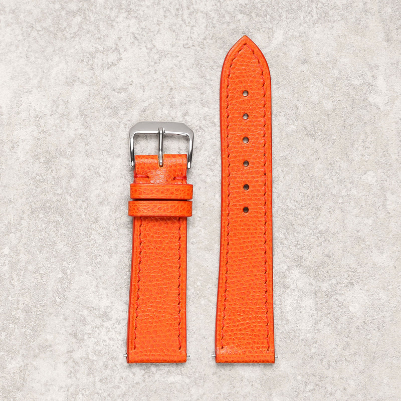 Impeccable textured orange watch strap