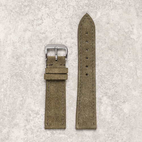 Diametris Impeccable khaki suede watch strap