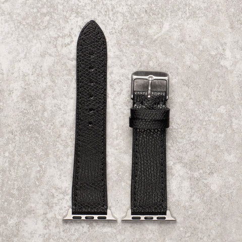 Diametris Apple Watch textured black leather replacement strap - Case size 38mm/40mm