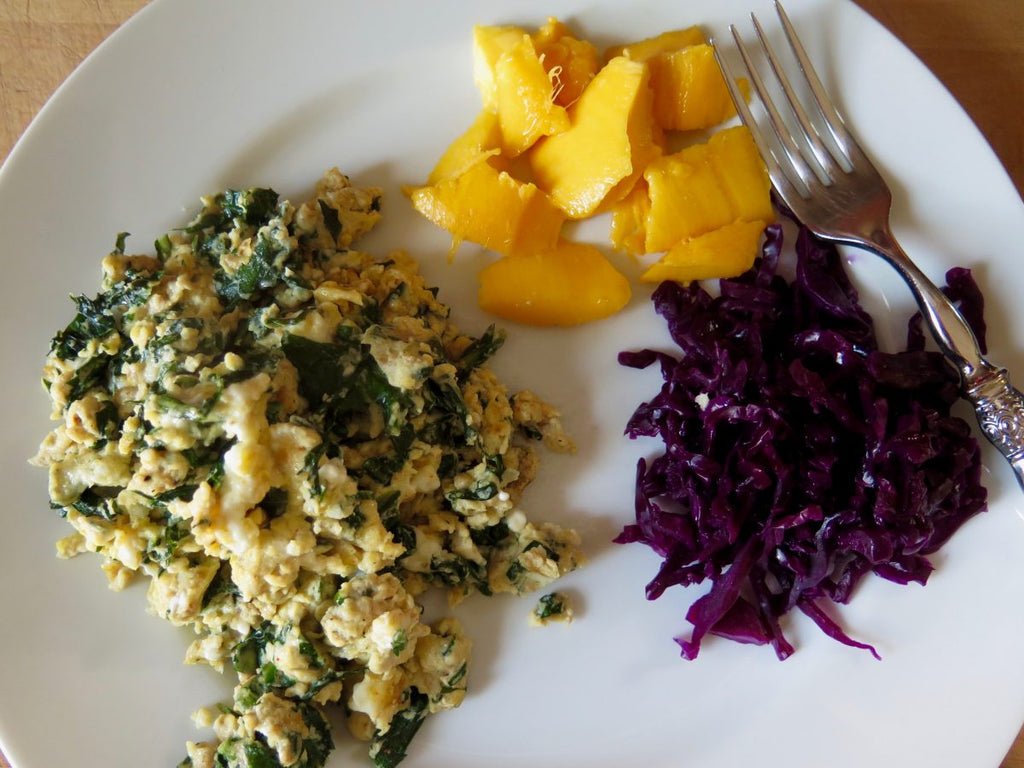 Scrambled Eggs with Dandelion Greens and Feta