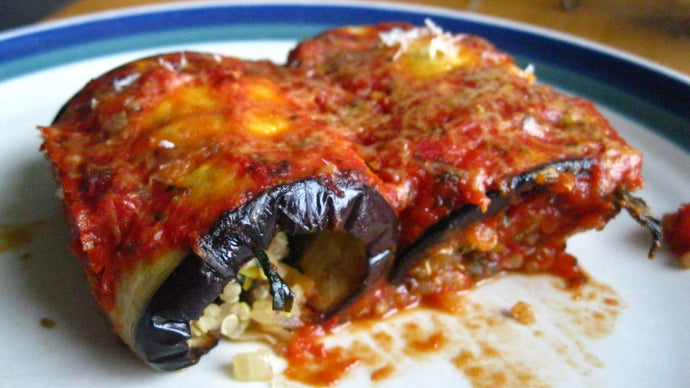 Eggplant Stuffed with Quinoa and Chard