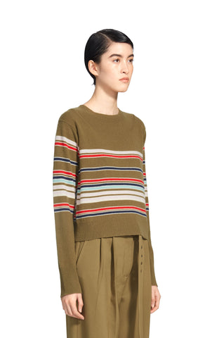 Freddy Cashmere Striped Crop Sweater