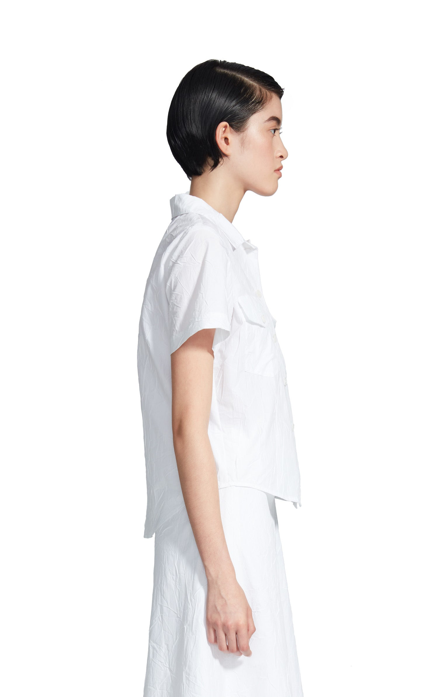 Nico Crinkled Poplin Pocket Button Shirt