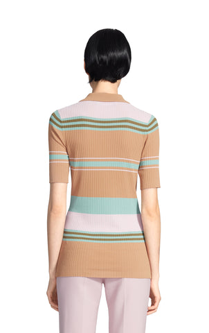 Rory Crepe Collared Short Sleeve Sweater