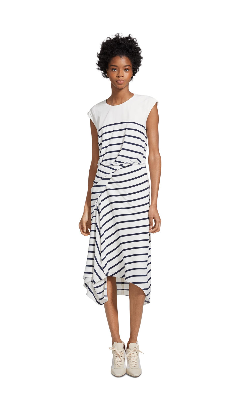 Anita Silk Stripe Asymmetrical Dress