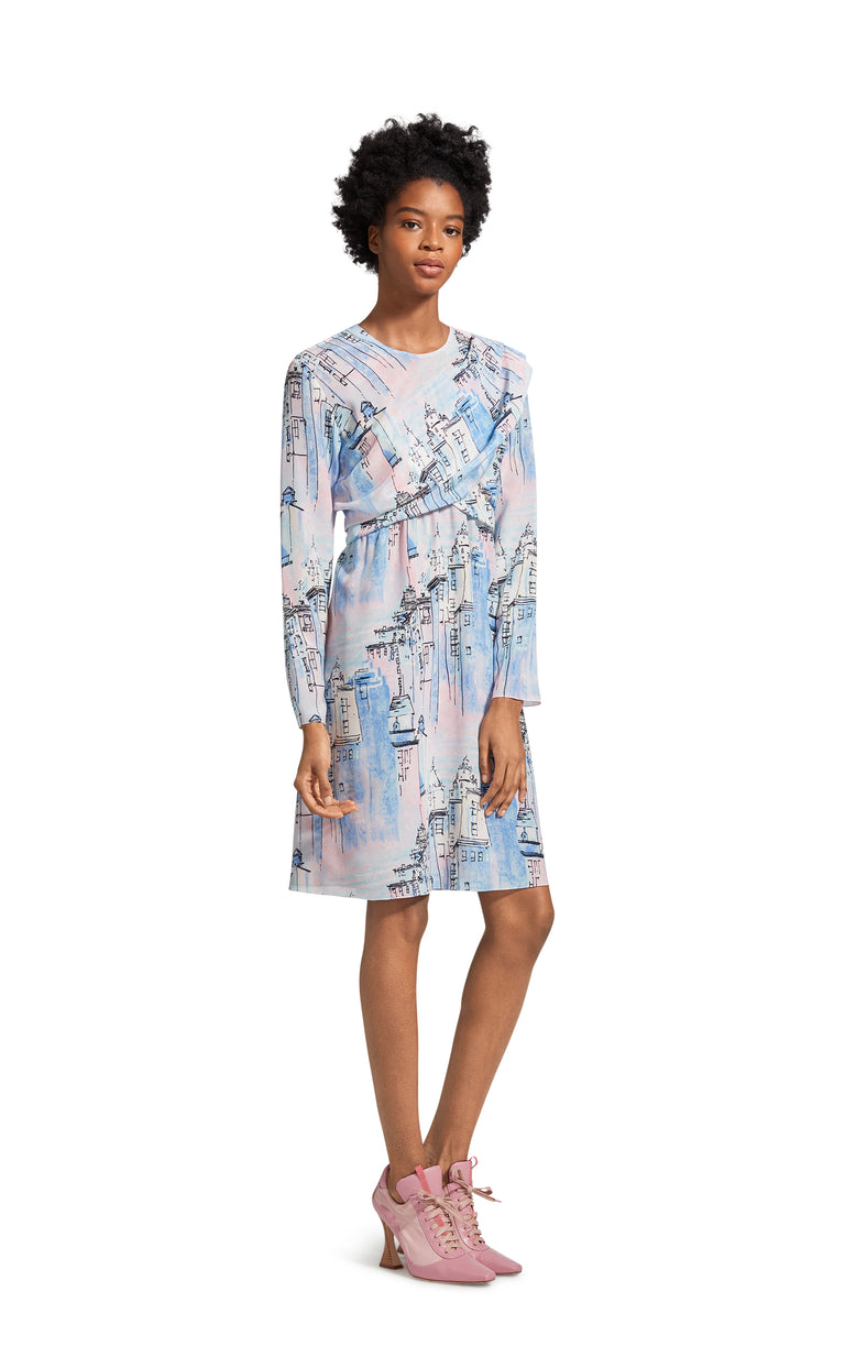 Oksana City Print Wrap Mini Dress