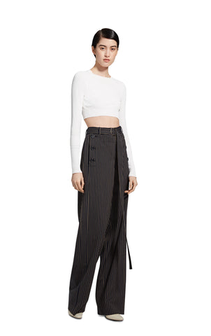 Gwin Fine Crepe Crop Crew Sweater