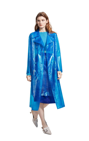 Nisa Embossed Plastic Trench Coat