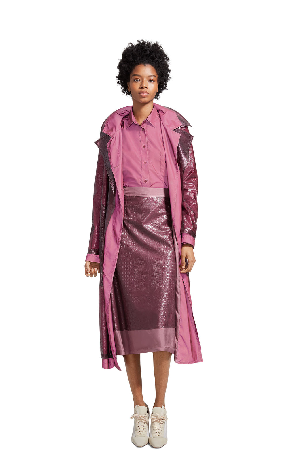 998c2033ed9 Devin Embossed Double Belted Reflective Trench Coat