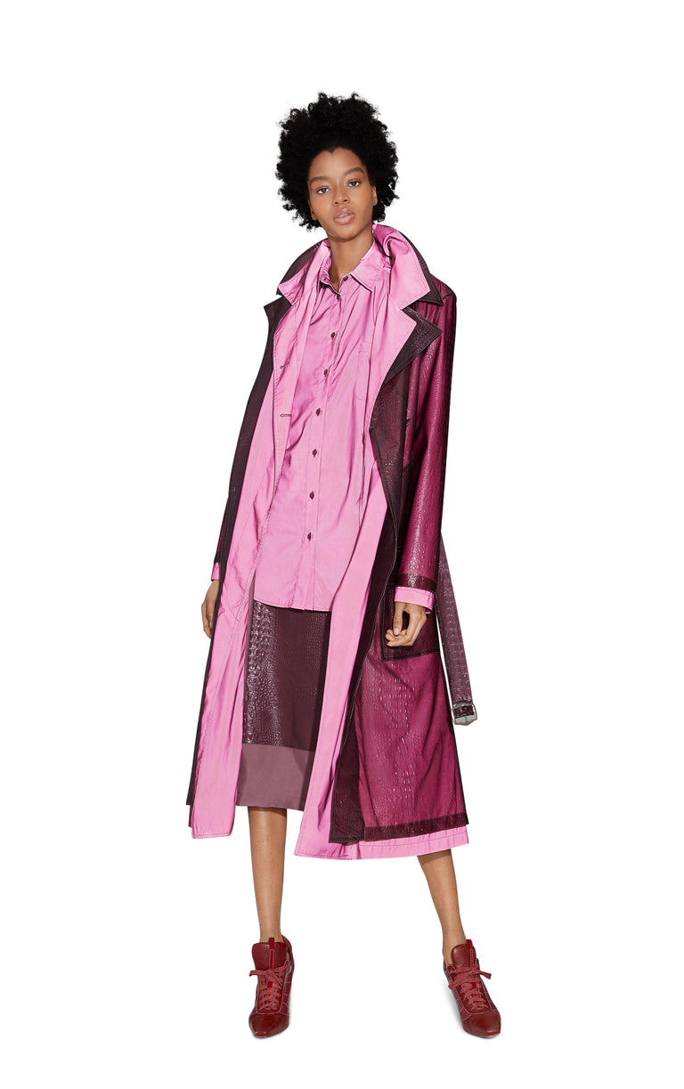 Devin Embossed Double Belted Reflective Trench Coat