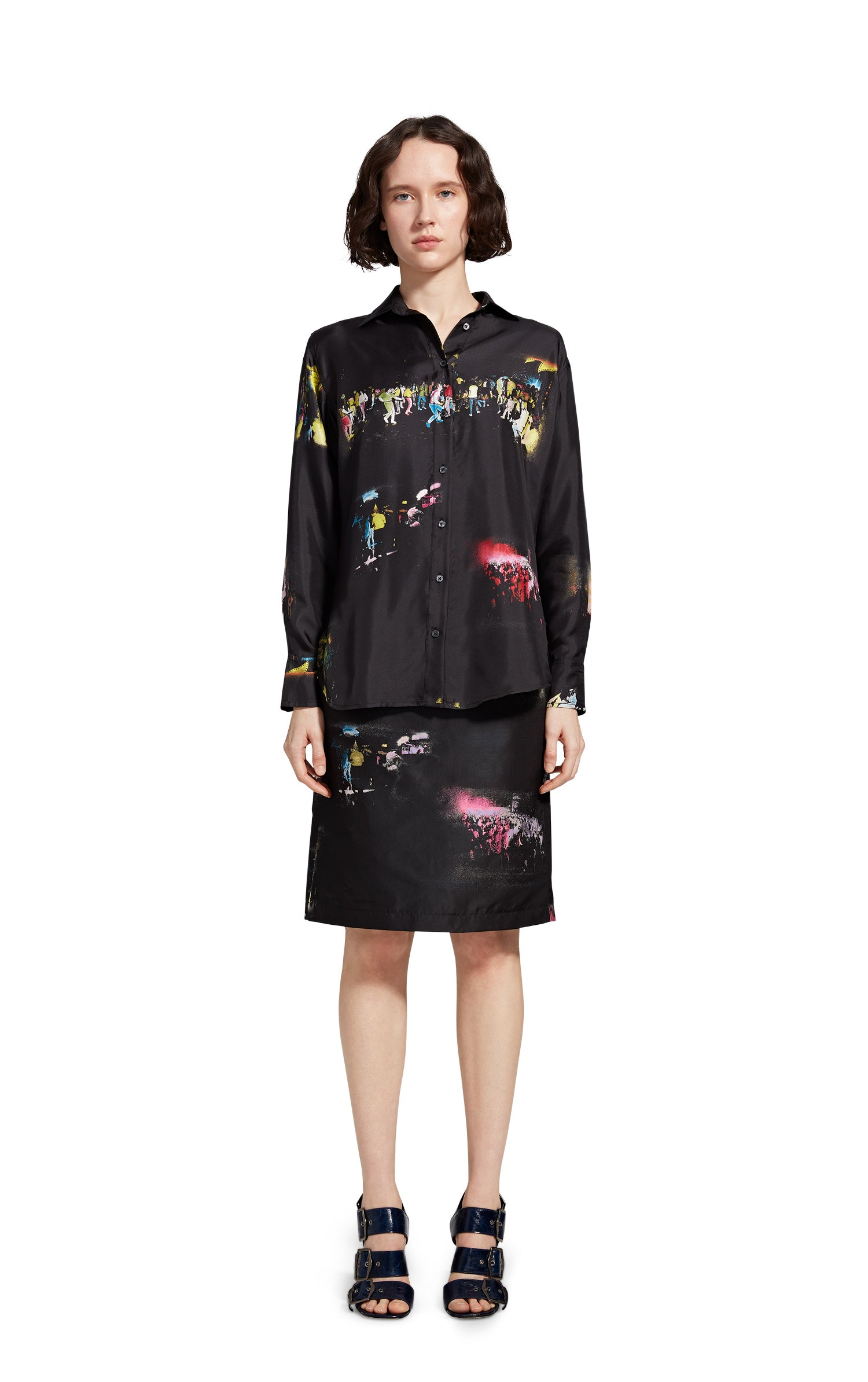 Sander Printed Club Kids Silk Twill Shirt