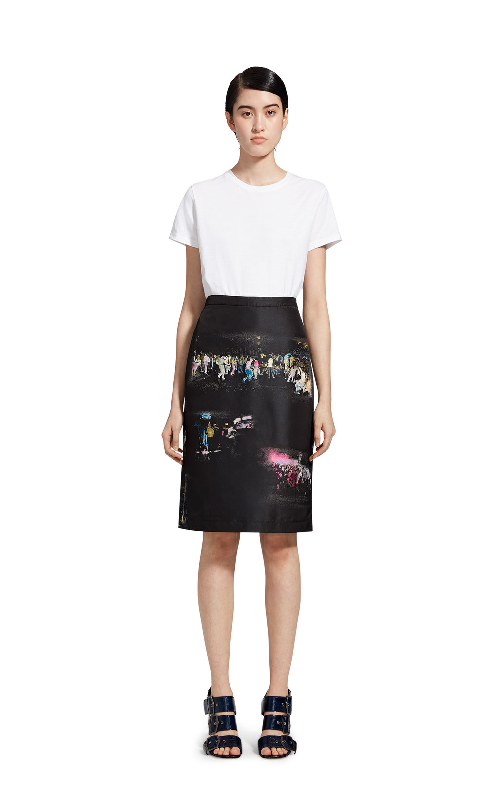 Audre Club Kids Silk Jacquard Straight Skirt
