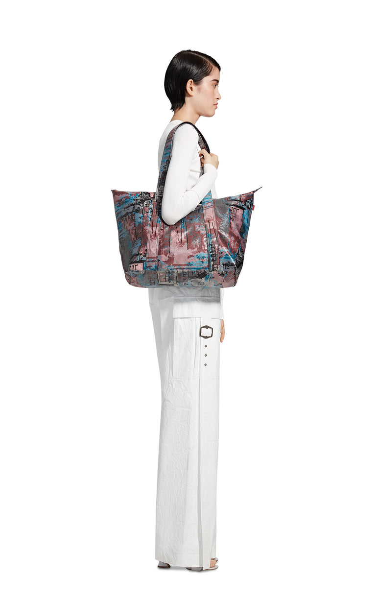 Vada Coated City Print Tote Bag