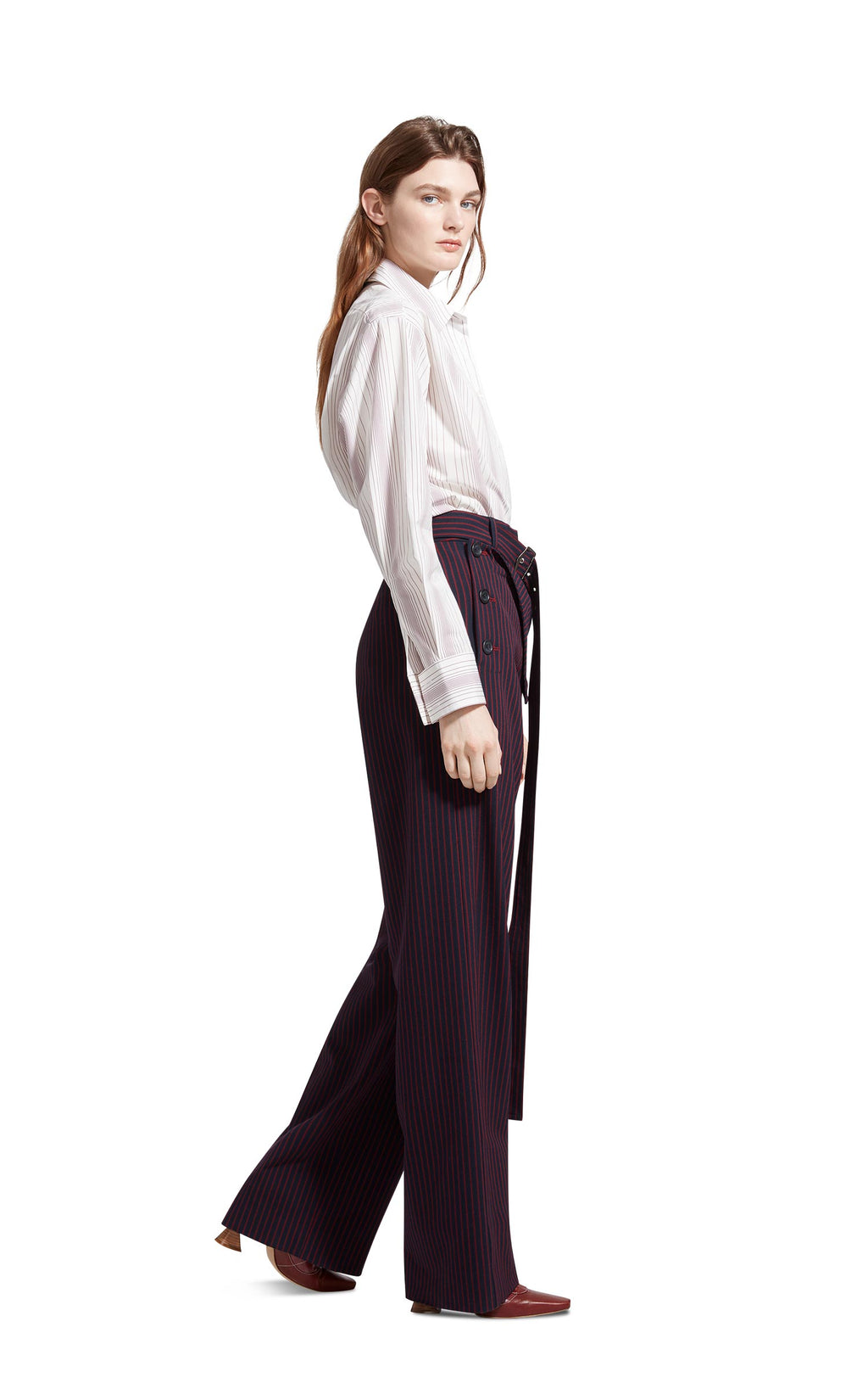 Anouk Pinstripe Stretch Wool Belted Long Pant