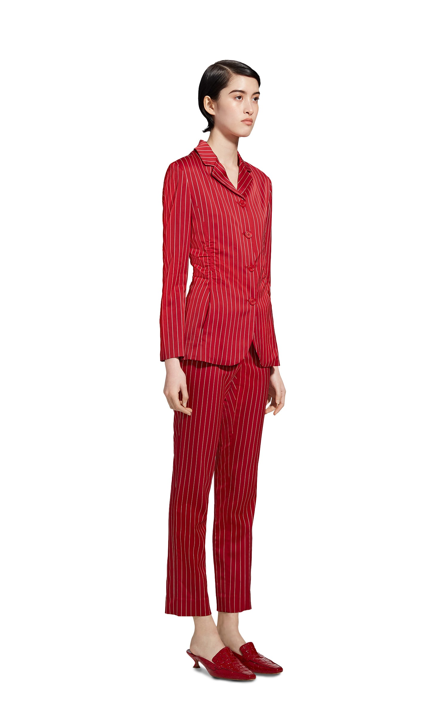 Greer Pinstripe Stretch Satin Single Breasted Jacket