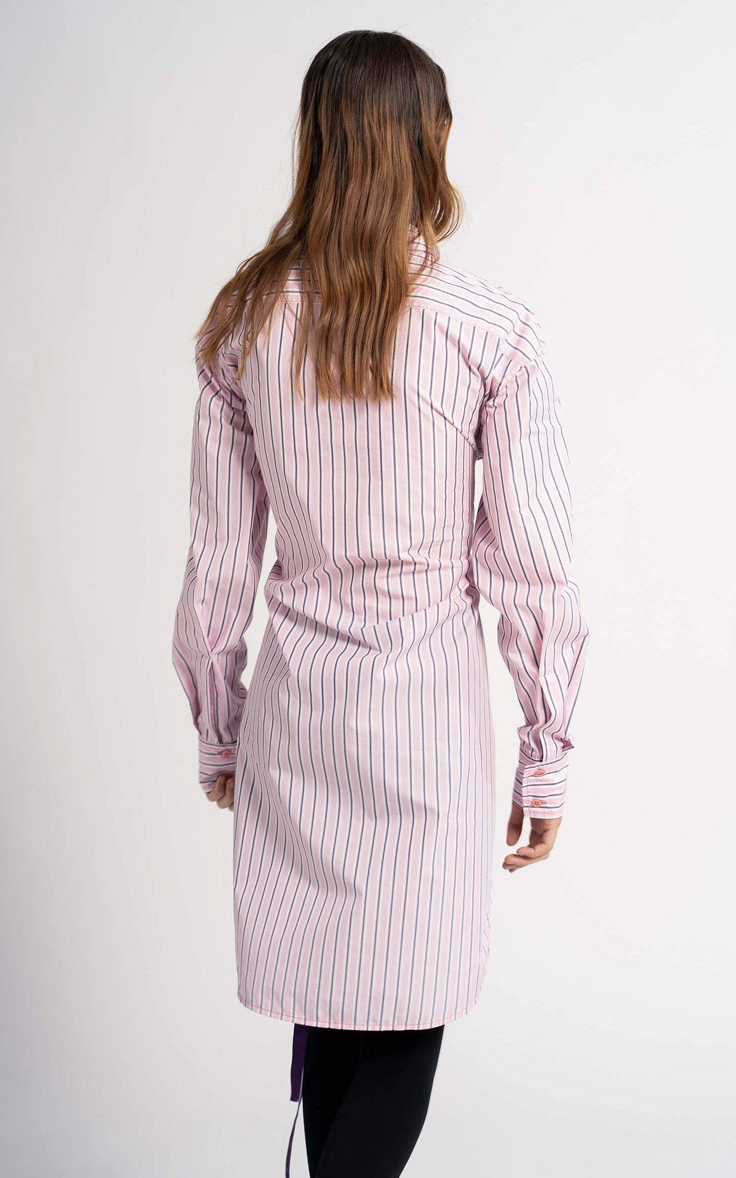 Silvia Striped Poplin Belt Shirt Dress