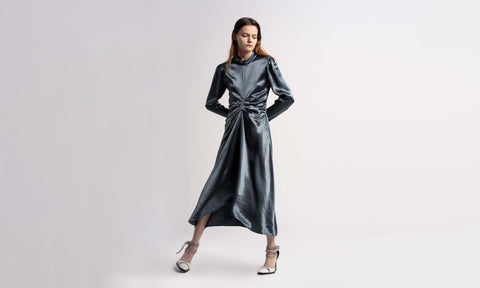 Nara Fluid Satin Mockneck Dress