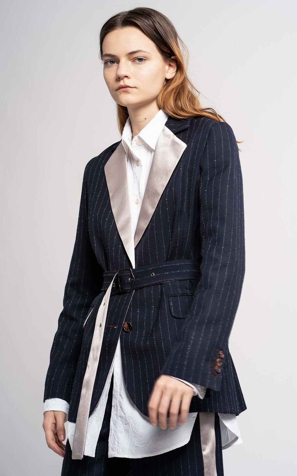 Terry Mohair Pinstripe Belted Blazer