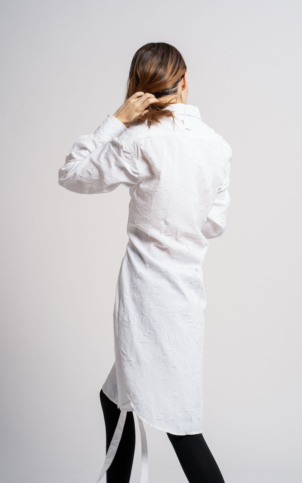 Silvia Crinkled Poplin Belt Shirt Dress