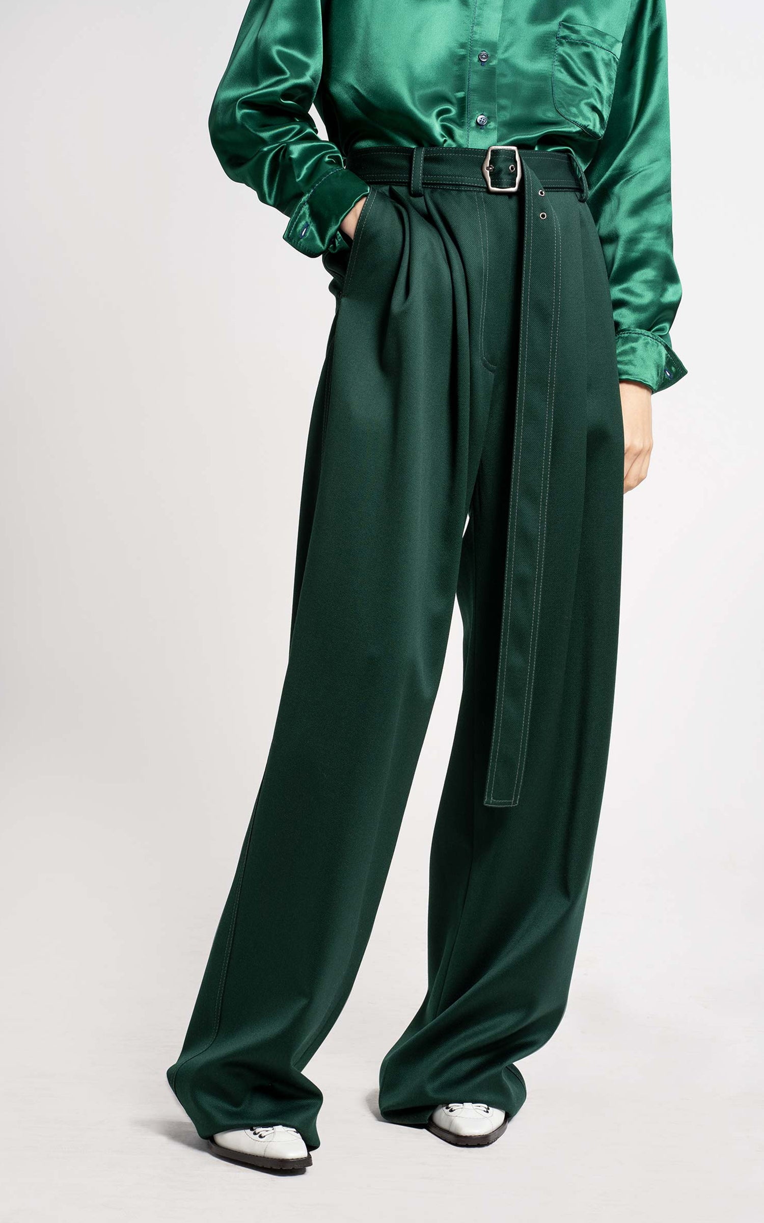 Blanche Pressed Wool Twill Wide Leg Pant