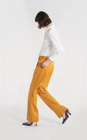 Ragen Pressed Wool Twill Pocket Flare Pant