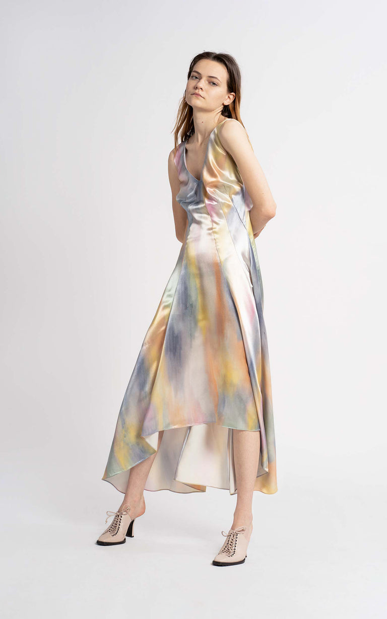 Miriam Printed Satin Midi Dress