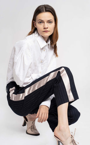 Bexley Mohair Pinstripe Straight Cropped Pant